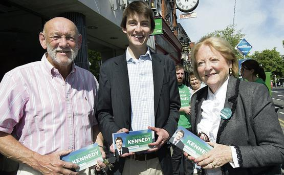 Paddy Cole and Kathleen Watkins lend their support to Fianna Fail local election candidate Frank Kennedy who was canvassing in Donnybrook yesterday. Photo: Tony Gavin 17/4/2014
