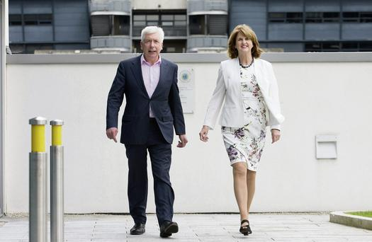 Labour Party leadership candidates Alex White and Joan Burton. Photo: Tony Gavin