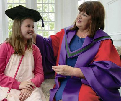 Maire Geoghegan-Quinn and her grand-daughter Ciara (9)