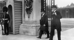 John Dillon and John Edward Redmond leaving Buckingham Palace in London after the Home Rule for Ireland Conference
