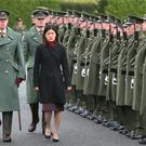 Foo Chi Hsia, new Ambassador of the Republic of Singapore, pictured inspecting the Guard at a ceremony this morning at Aras an Uachtarain where three new Ambassadors to Ireland presented their Letters of Credence to the President. Picture: Colin Keegan, Collins
