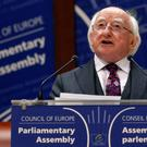 President Michael Higgins addresses the Parliamentary Assembly of the council of Europe in Strasbourg yesterday. Photo: Reuters
