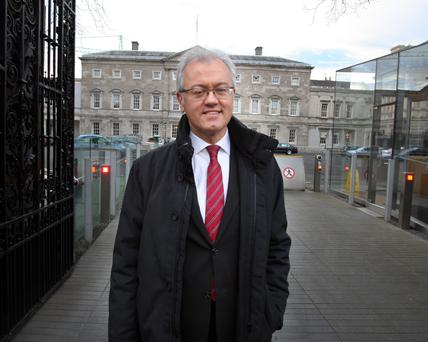 Marco Buti arrives for the meeting of the Oireachtas Banking Inquiry at Leinster House yesterday. Photo: Tom Burke