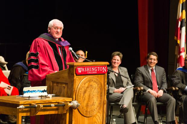 Bertie Ahern at the Convocation. Please credit: Tamzin B. Smith, courtesy of Washington College.