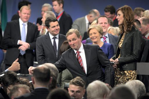 Enda Kenny after giving his address at Fine Gael's National Conference in the TF Royal Hotel, Castlebar. Photo: Mark Condren.