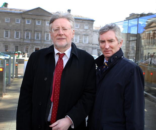 Gerry O'Regan, former Editor of the Irish Independent (left) and Michael Doorly, former Financial Director and now Company Secretary at Independent News & Media, at the Oireachtas Banking Inquiry at Leinster House yesterday. Picture: Tom Burke