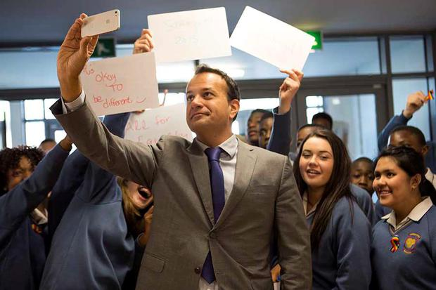 Health Minister Leo Varadkar visits Coláiste Pobal Setanta in Dublin, where he launched the school's Rainbow Pride Flag – the first such initiative in a Dublin school