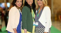 Martina McCann, Claudia and Lorraine Kennedy pictured at the FF Ard Fheis in the RDS. Picture; GERRY MOONEY