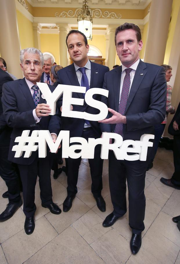Health Minister Leo Varadkar was joined by INMO general secretary Liam Doran and Equality Minister Aodhán Ó Ríordáin to advocate a 'Yes' vote