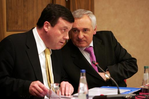 The late Brian Lenihan (left) and Bertie Ahern