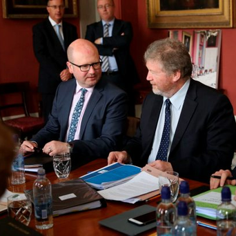 James Reilly (right) with Junior Minister Ged Nash at the Cabinet meeting in Lissadell House