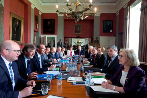 The Cabinet meeting in the dining room in Lissadell House, Co Sligo