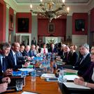 The Cabinet meets in the dining room in Lissadell House, Co Sligo, yesterday