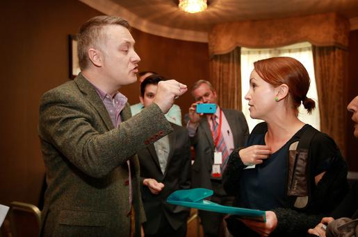 Paul O Marcacahain from the Identity Ireland Party argues with Kate O'Connell at the launch of the Identity Ireland, a Pro Sovereignty party in Buswells Hotel