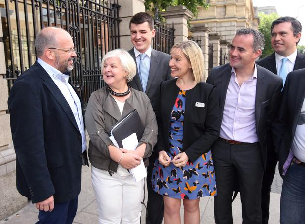 Renua leader Lucinda Creighton with colleagues (from left) Finbarr Filan, Mailo Power, Patrick McKee and John Leahy at the launch of the party's policy on public procurement at Leinster House yesterday