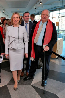 Lucinda Creighton at the launch of Renua with Jonathan Irwin (right)