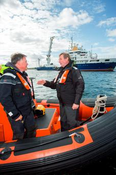 Taoiseach Enda Kenny with Chris Bake of Aqua Comms