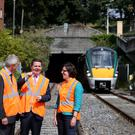 Transport Minister Paschal Donohoe with David Franks, chief executive of Iarnród Éireann, and Anne Graham, chief executive of the NTA, at the Phoenix Park tunnel Photo: Jason Clarke