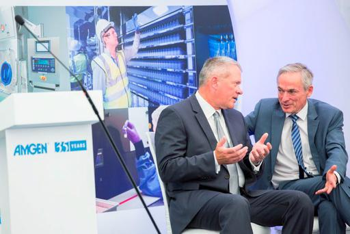 NO Repro fee 24-8-2015 ***MINISTER BRUTON OPENS NEW $300 MILLION AMGEN FACILITY*** Picture shows from left Kerry Ingalls, Vice President with Amgen;Minister for Jobs, Enterprise and Innovation, Richard Bruton TD;with (right)at the official opening of a new $300 million facility for leading biotech company, Amgen in Dun Laoghaire, Co. Dublin.  The facility currently provides 340 jobs and delivers state-of-the-art manufacturing capability to Amgen. Pic:Naoise Culhane-no fee  The development of the new facility included the construction of an 11,500 square metre production plant known as Production Module 3 (PM3), a new 5,800 square metre cold chain warehouse and major refurbishment of the other buildings which already existed on site. Additionally, the new syringe filling facility adds to the capabilities that already exist at the site and positions the Dublin plant as a key location within Amgen's global organisation.Pic:Naoise Culhane-no fee