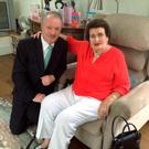 Sean Haughey with his mother Maureen on her 90th birthday