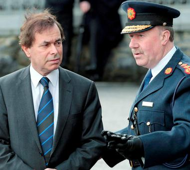 'THIS IS HORRENDOUS': How then Justice Minister Alan Shatter, left, with former Garda Commissioner Martin Callinan, right, described the run-up to the Commissioner leaving office, when he texted Brian Purcell