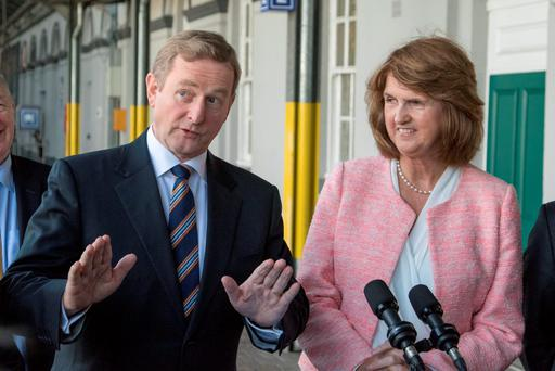 Taoiseach Enda Kenny and Tánaiste Joan Burton at the launch of the capital investment plan at Heuston Station yesterday