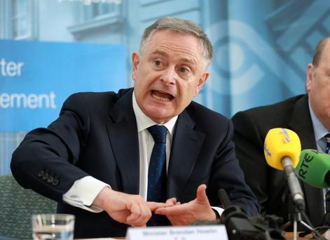 Brendan Howlin, Minister for Public Expenditure and Reform, during the presentation of the latest Exchequer Returns at the Department of Finance Photo: Frank McGrath