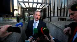 Taoiseach Enda Kenny speaks to the media on his way into yesterday's Cabinet meeting