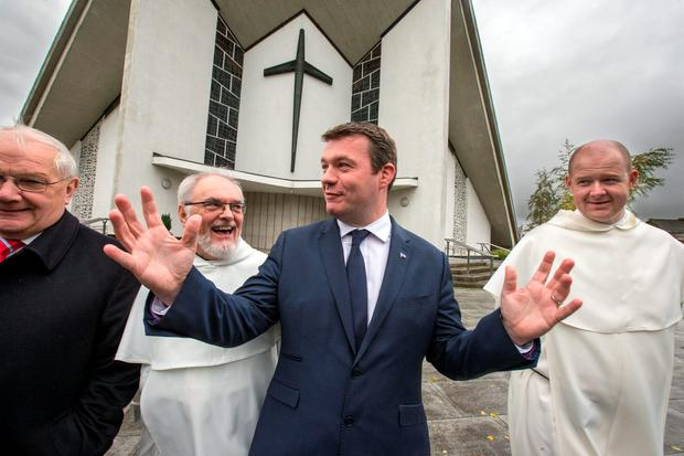 Minister Alan Kelly, pictured with Fr Gregory Carroll and Fr John Walsh, announces that the historic Dominican Order site in Athy, Co Kildare, will be converted into a library as well as an amenity park and sheltered housing complex