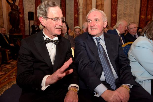 Former Tánaiste Dick Spring and Taoiseach Bertie Ahern at an event in Iveagh House to mark the 30th anniversary of the signing of the Anglo-Irish Agreement