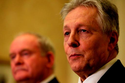 First Minister Peter Robinson (right) speaks alongside Deputy First Minister Martin McGuinness