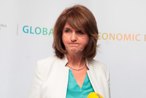 Tánaiste and Minister for Social Protection Joan Burton at the Global Economic Forum in Dublin Castle yesterday