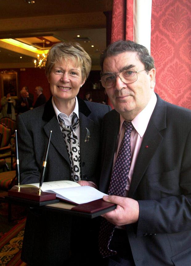 John Hume with his wife Pat, who has spoken of his struggle with dementia