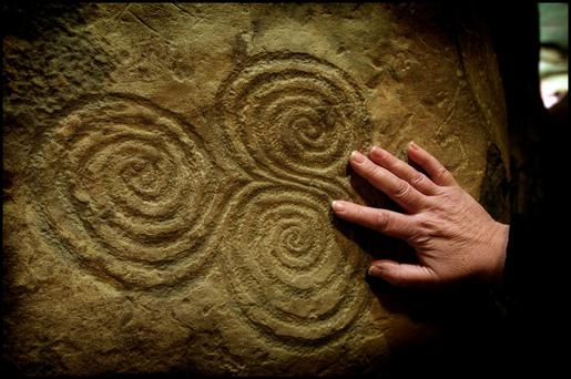 One of the symbols engraved on a stone in the tomb. Newgrange in Co Meath is among the sites to feature in the Ireland's Ancient East heritage trail