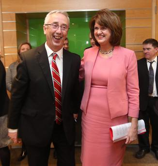 Junior Minister Kevin Humphreys and Social Protection Minister Joan Burton at the launch of the MABS mortgage arrears service. Photo: Damien Eagers