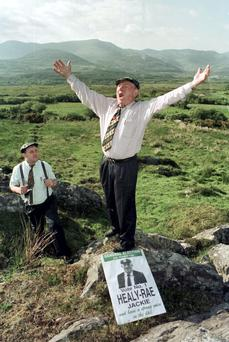 MY KINGDOM FOR A FIRST PREFERENCE: The late Jackie Healy-Rae and his son Michael were exposed to a few novel experiences while canvassing in Kerry. Photo: Don MacMonagle