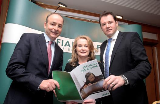 Fianna Fáil leader Micheál Martin (left) with Charlie McConalogue, FF's education spokesman, and Mary Fitzpatrick, party candidate for Dublin Central, at the launch yesterday of the Fianna Fáil Education Policy Blueprint 'Securing the Future'. Photo: Tom Burke