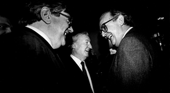 Right-hand man: PJ Mara with the Boss and FF Minister Ray Burke in the 1980s. Photo: Ann Egan