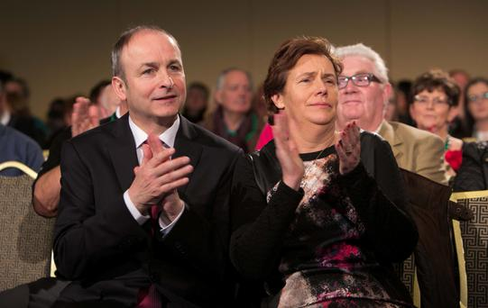 Fianna Fail leader Micheal Martin TD and his wife Mary. Photo: Collins