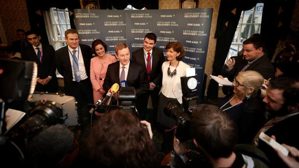Taoiseach Enda Kenny speaks to the press during the Fine Gael ard fheis. Photo: Gerry Mooney