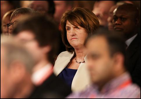 BACK TO THE WALL: Joan Burton has a struggle on her hands to hold her seat in Dublin West. Photo: Steve Humphreys