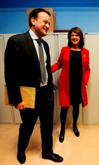Minister for Health Leo Varadkar with Tánaiste Joan Burton. Photo: PA