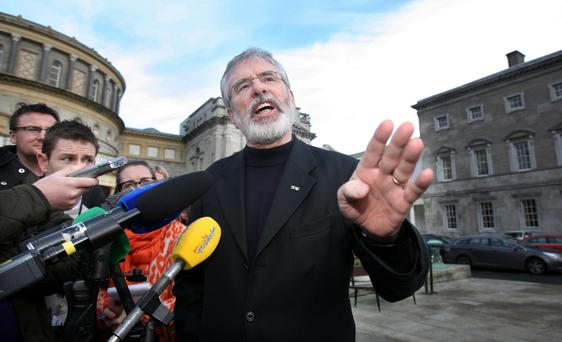 While Sinn Féin had indicated up until this week that it would provide spaces on its coach, officials made a last-minute decision not to give media access to Gerry Adams and others while in transit. Photo: Tom Burke