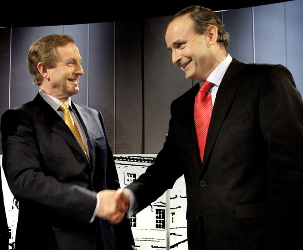 Party leaders Enda Kenny and Micheal Martin