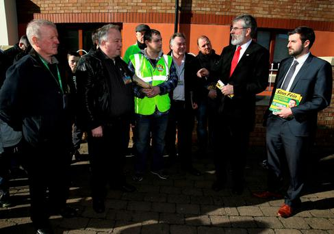 ALL TALK: Sinn Fein leader Gerry Adams speaks to party faithful during a visit to Mounttown Community Facility in Dun Laoghaire last week. Photo: Brian Lawless