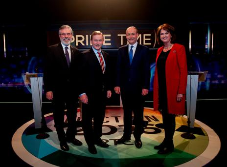 Fantasy politics: The General Election was all about the leaders, from left, Gerry Adams, Enda Kenny, Micheal Martin and Joan Burton. Photo: Tony Maxwell/PA Wire