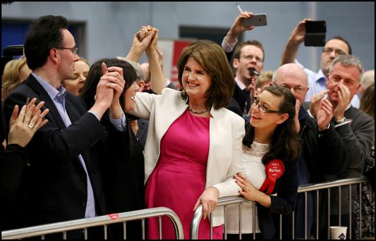 BY THE SKIN OF HER TEETH: Labour Party leader and Tanaiste Joan Burton is declared elected at Phibblestown Community Hall in Dublin 15 last night. Photo: Steve Humphreys