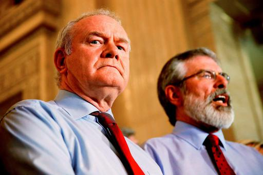 Deputy First Minister of Northern Ireland Martin McGuinness (L) and Sinn Féin President Gerry Adams Credit: Brian Lawless (PA Wire)