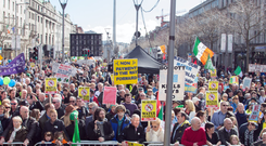 Visible minority: Anti-water charges protestors may be visible on the streets but most people have paid their bills, as those who live in rural areas have been doing for years Photo: Sunpix