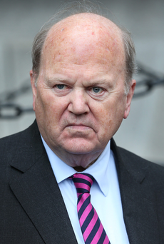 Michael Noonan blamed Fianna Fáil's decision to push through a bill on variable rates for a drop in bank share prices Photo: Steve Humphreys